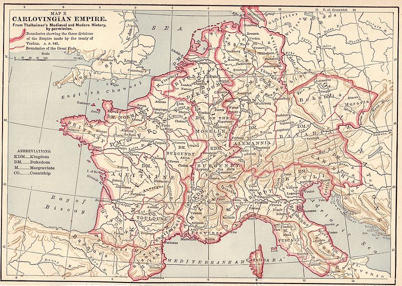 Map of Charlemagne's empire encompassing much of western and central Europe.