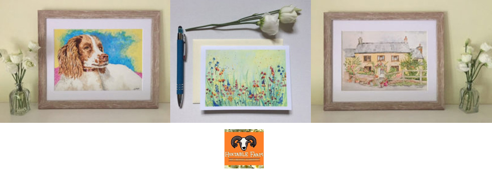 Jackie Payne at Huxtable Farm paints beautiful pets and landscapes which can be purchased as prints or as cards.