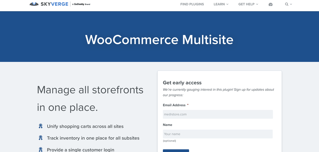 The SkyVerge WooCommerce Multisite plugin page.