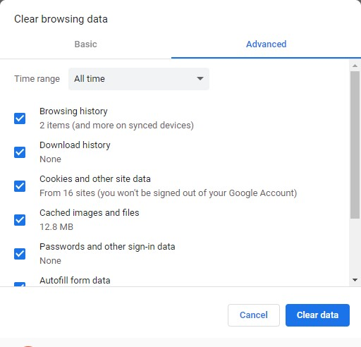 select browsing history data