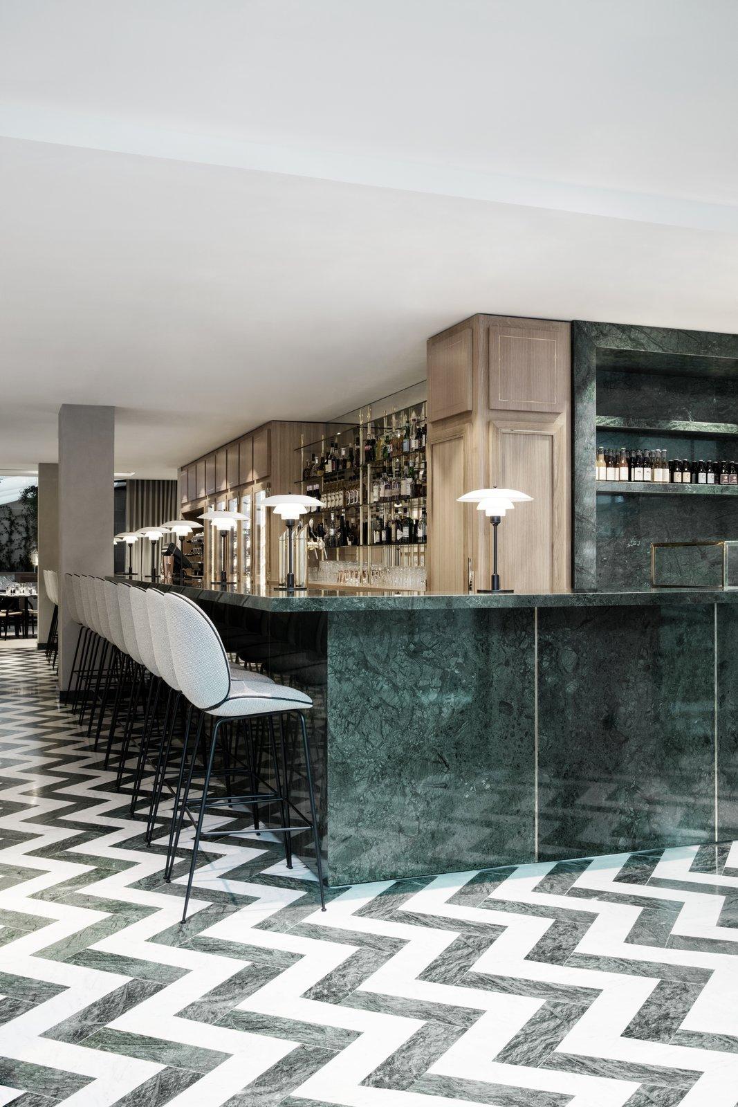 Funky zig-zag restaurant floor pattern.