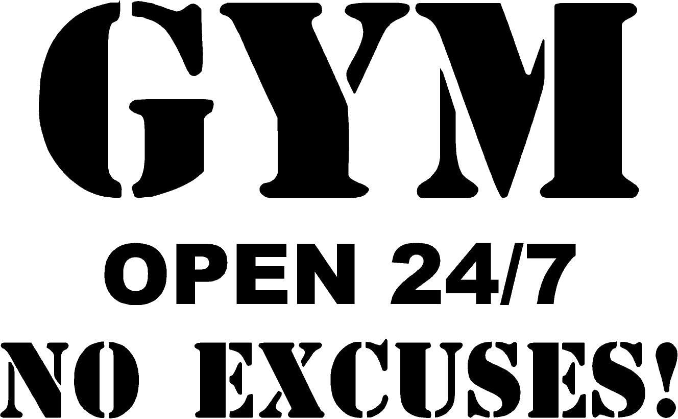 Gym Open 24/7 No Excuses! Vinyl Wall Decor for Garage Gyms is an inexpensive vinyl wall decal you can buy to create a warm and inviting environment to help you stick to your fitness commitments.