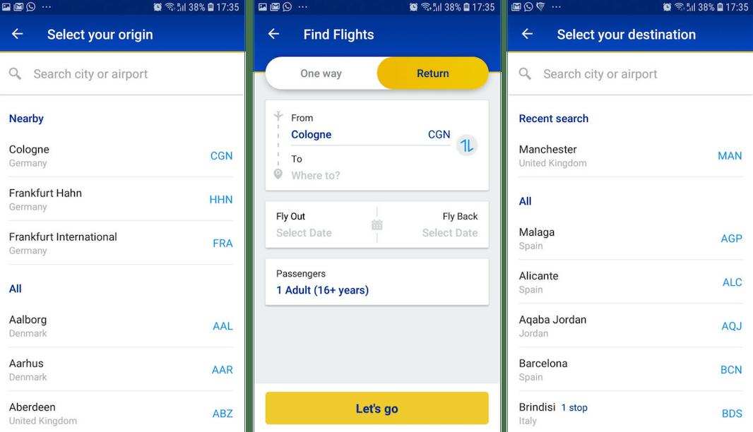 Ryanair, önceki aramalara, satın almalara ve konuma göre arama seçeneklerini önceden doldurur