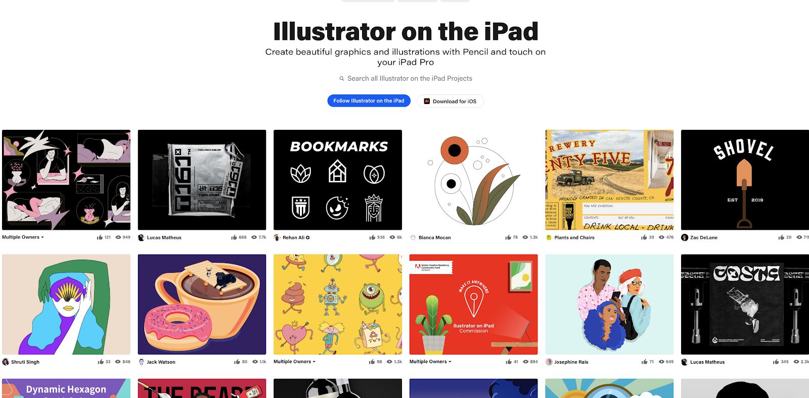 Illustrations from Illustrator on the iPad Beta program participants, featured on Behance.