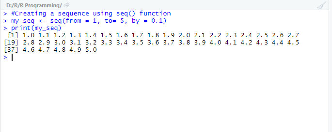 This image shows an example code for the seq() function under R.