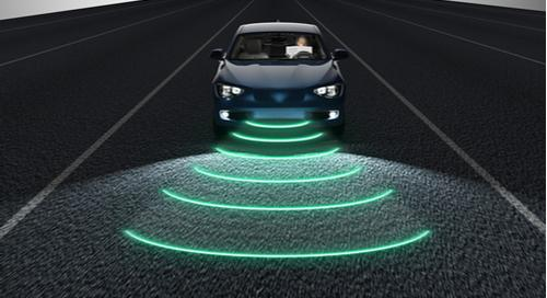 self-driving car on road