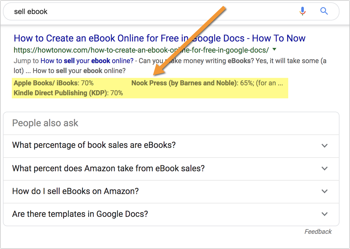 example of google extracting content from a table and displaying it in search results.