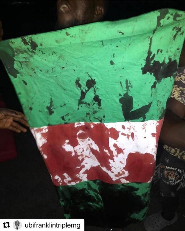 A protestor holding up a Nigerian flag, stained with the blood of protestors on  October 20, while they are in pain.
