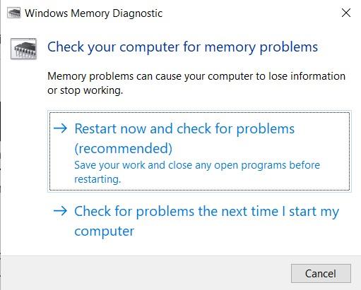 Windows Memory Diagnostic window