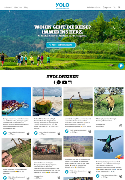 Screenshot of Yolo Reisen social media wall. The image shows eight photos of people having various adventures around the world.