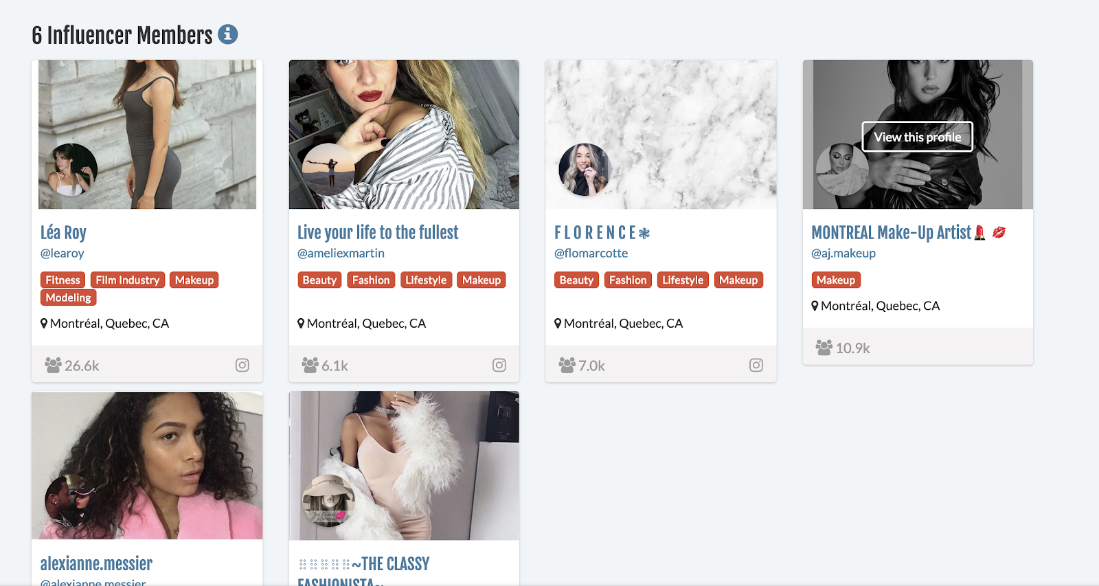 tool results of finding influencers