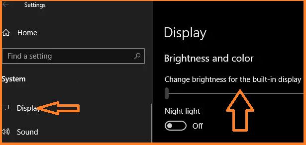 Adjust brightness in Windows 10 Manually