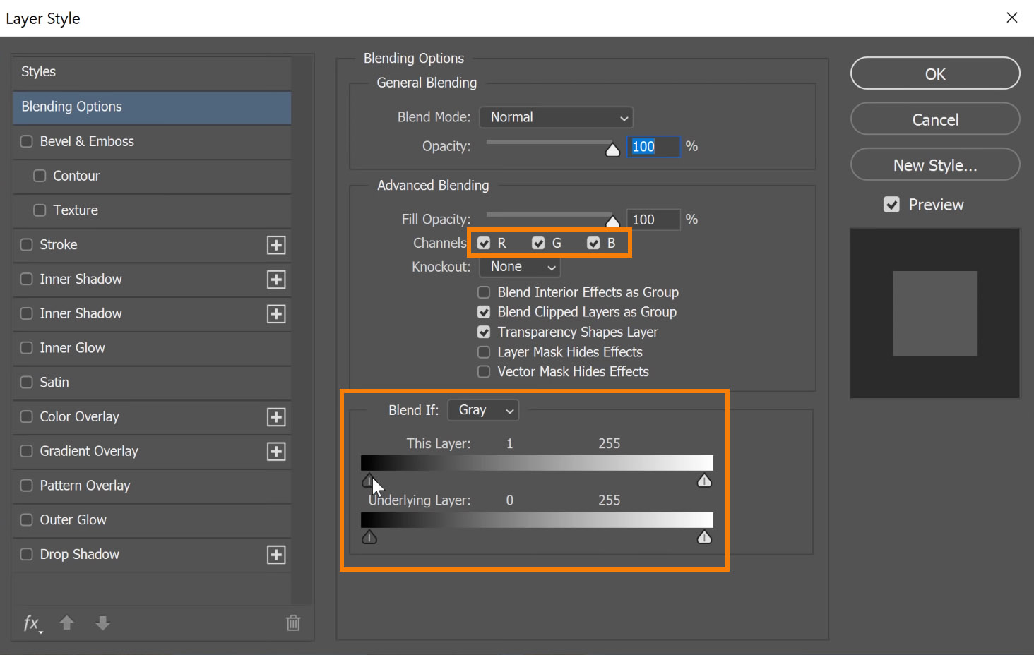 hide or reveal pixels based on the luminosity of each RGB channel and adjust it in the Blend If sliders