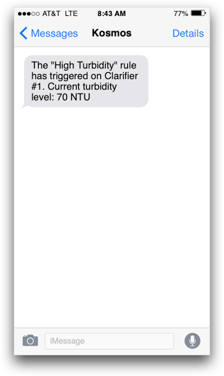 Kosmos text message alert about wastewater treatment plant turbidity status