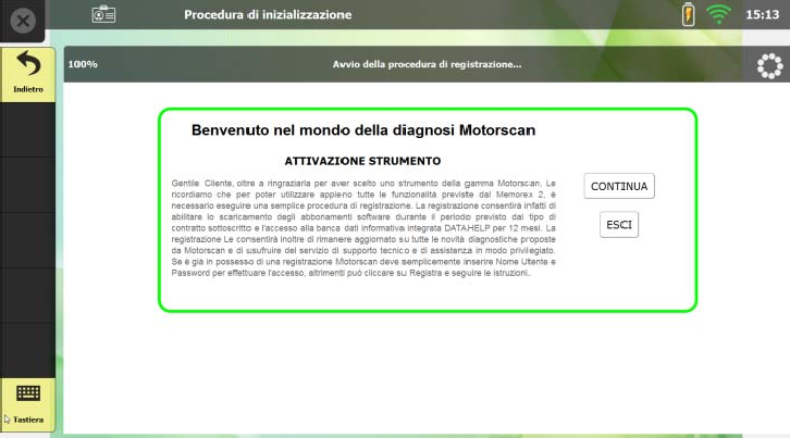 MOTORSCAN UNIT WELCOME SCREEN - ANSED Diagnostic Solutions