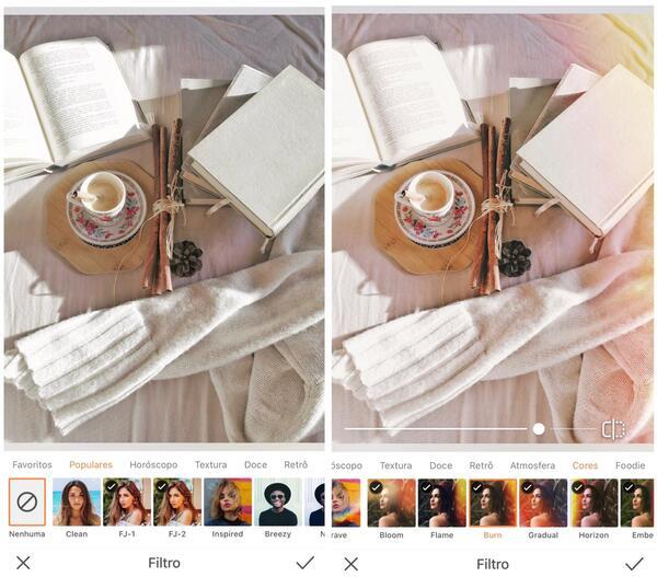Foto de livros e xícara de chá sendo editados pelo AirBrush com o filtro Afterglow