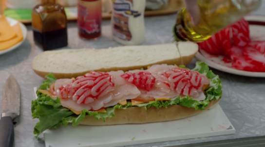 """A Cheese sandwich with human brains from the set of """"iZombie""""."""