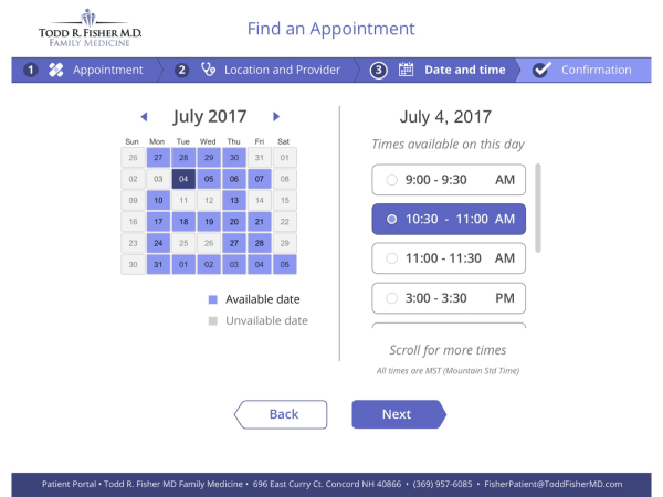 Patient scheduling within AdvancedMD's EHR system