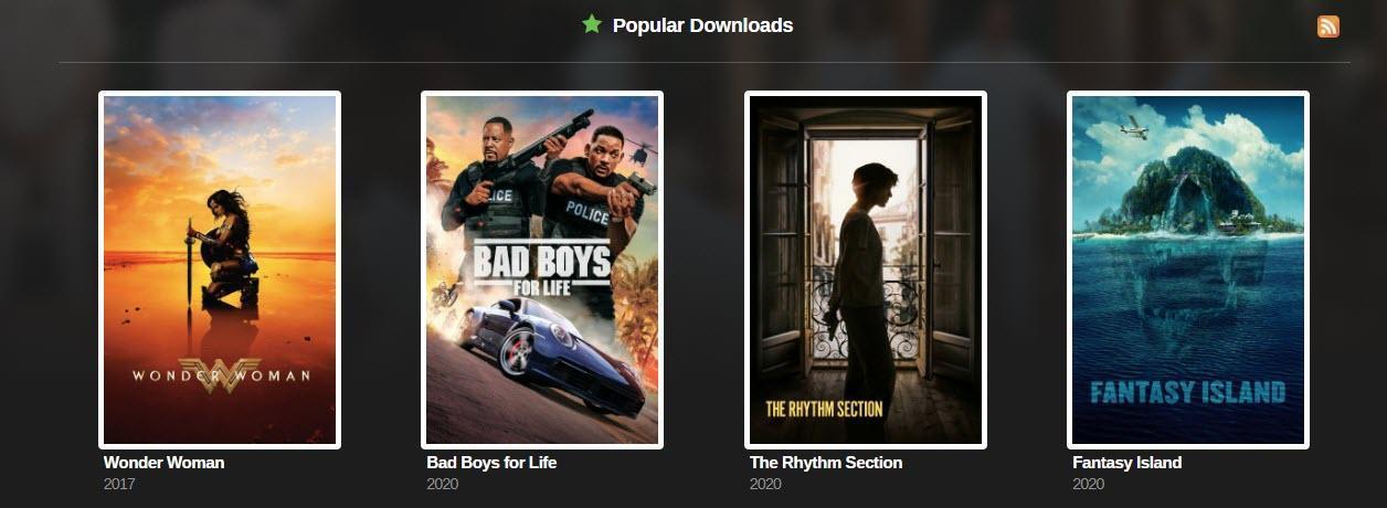YTS popular downloads.