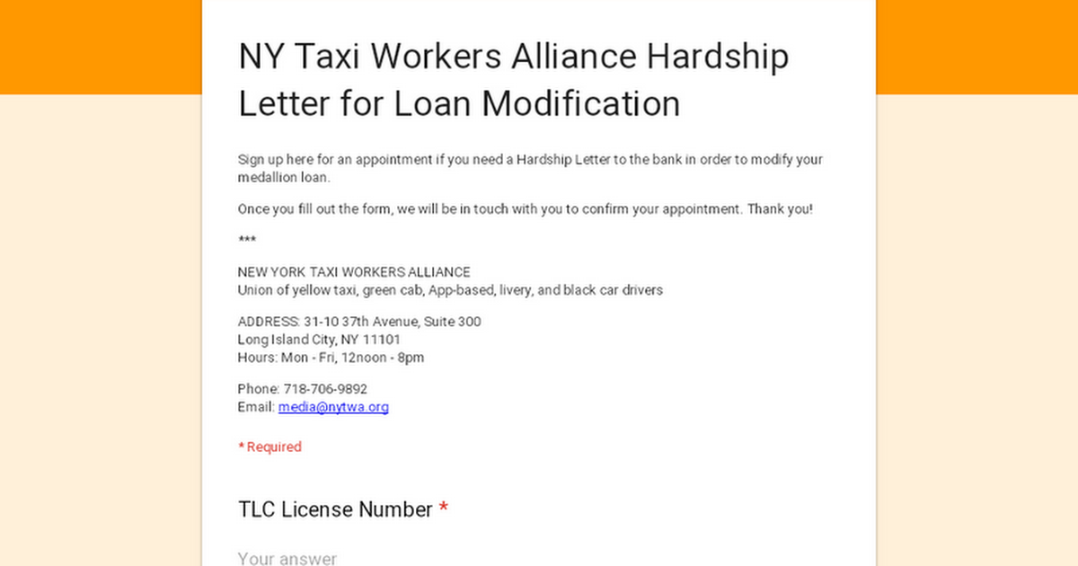 NY Taxi Workers Alliance Hardship Letter for Loan Modification
