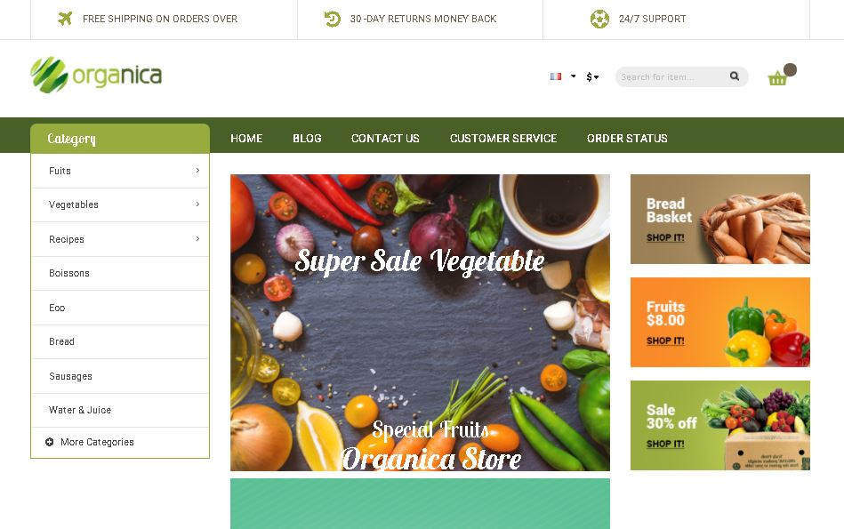 Fruits and vegetables magento theme organica