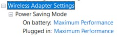 Expanded Wireless Adapter settings in Power Options