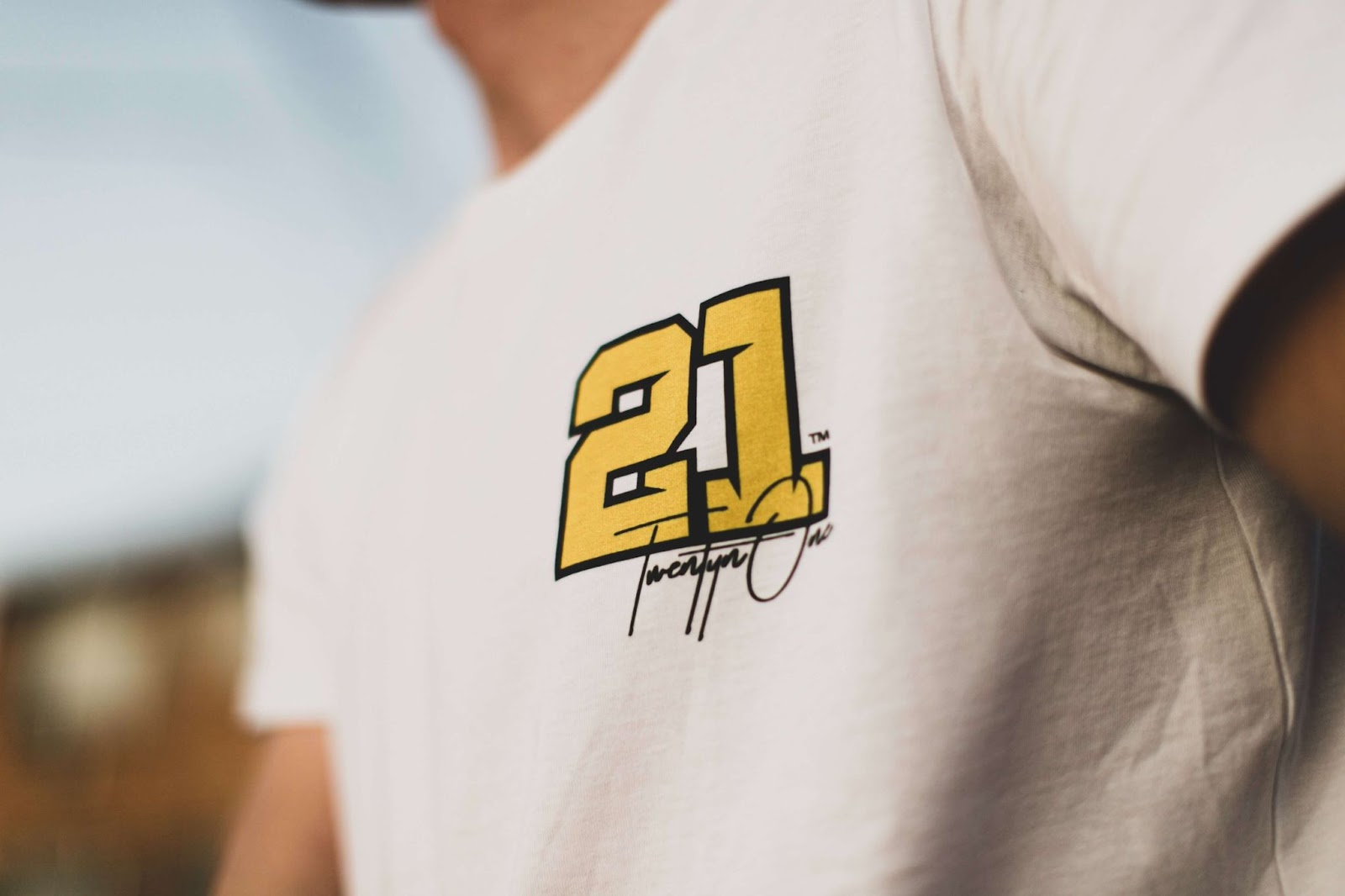 Man wearing print on demand design t-shirt