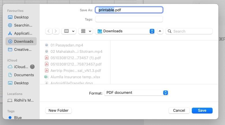 choose file extension