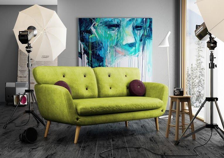 A Velvet Sofa With Green Colour Can Just Turn The Place To A Luxurious One.  When It Comes To The Comfort Of Sitting On It, The Velvet Touch Explains  All.