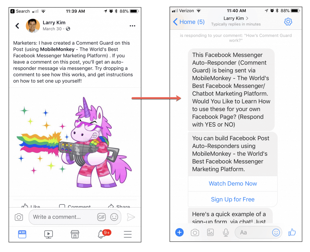 Facebook Messenger for business - facebook post autoresponder