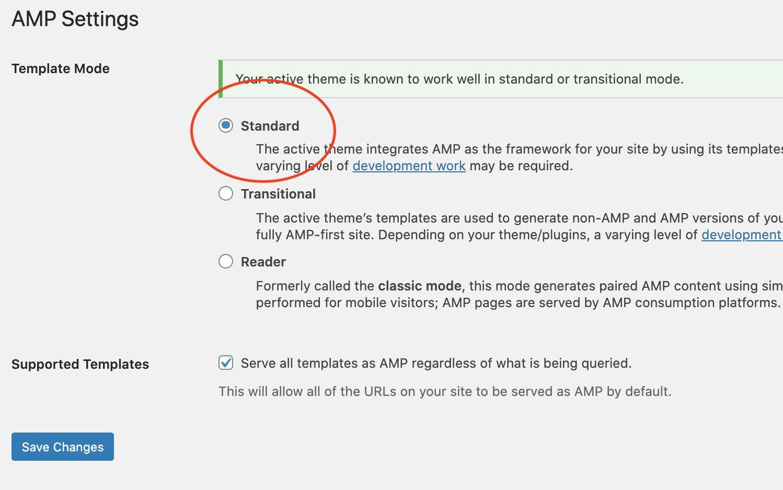 AMP settings inside the WordPress dashboard