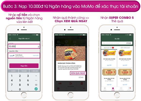 Bước 3:  Chọn tiếp NẠP TIỀN NGAY để nạp 10.000 đồng vào MoMo xác thực tài khoản