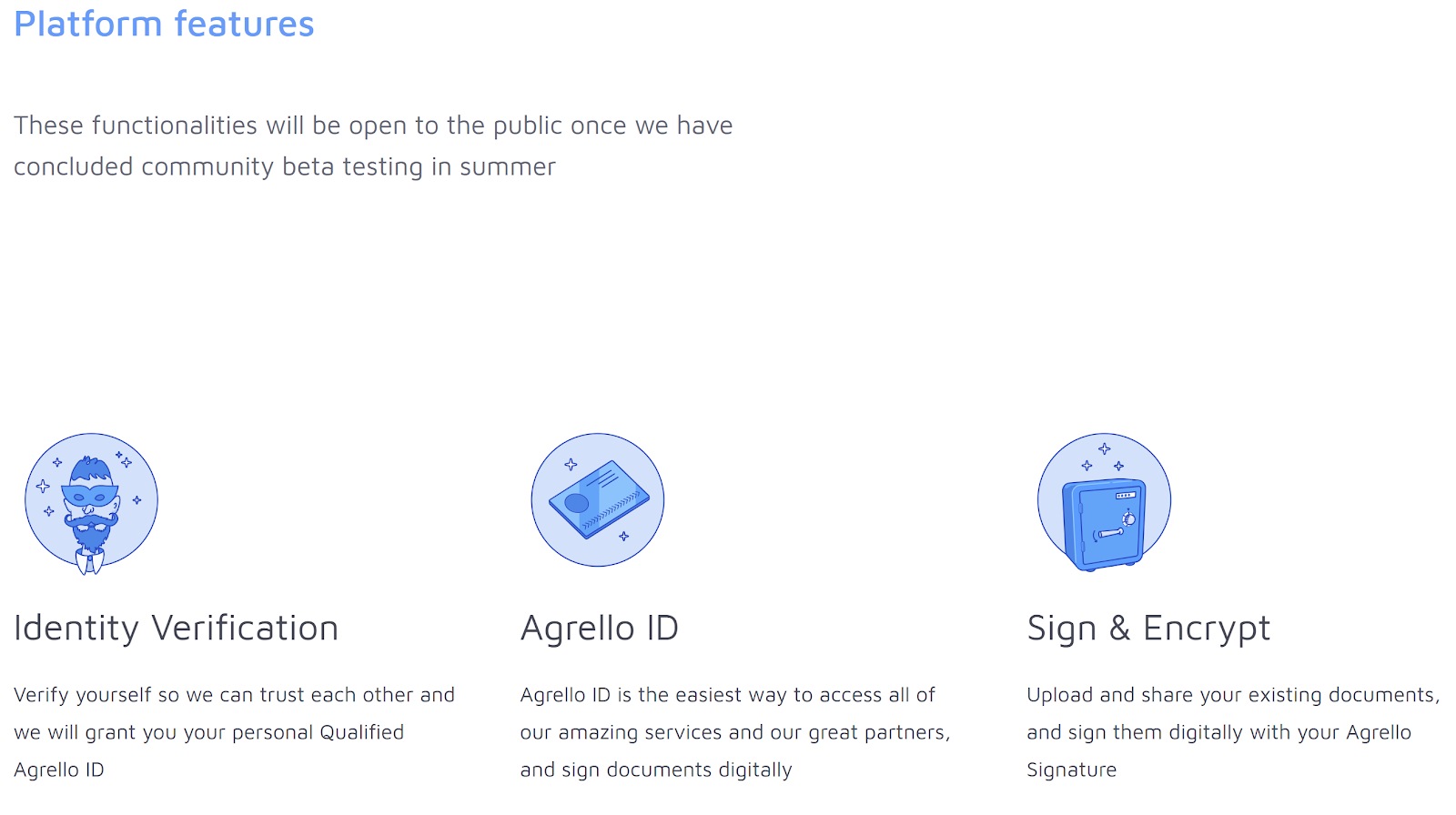 Agrello platform features