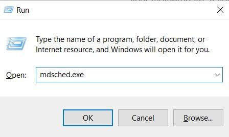 Run command for Windows Memory Diagnostics tool