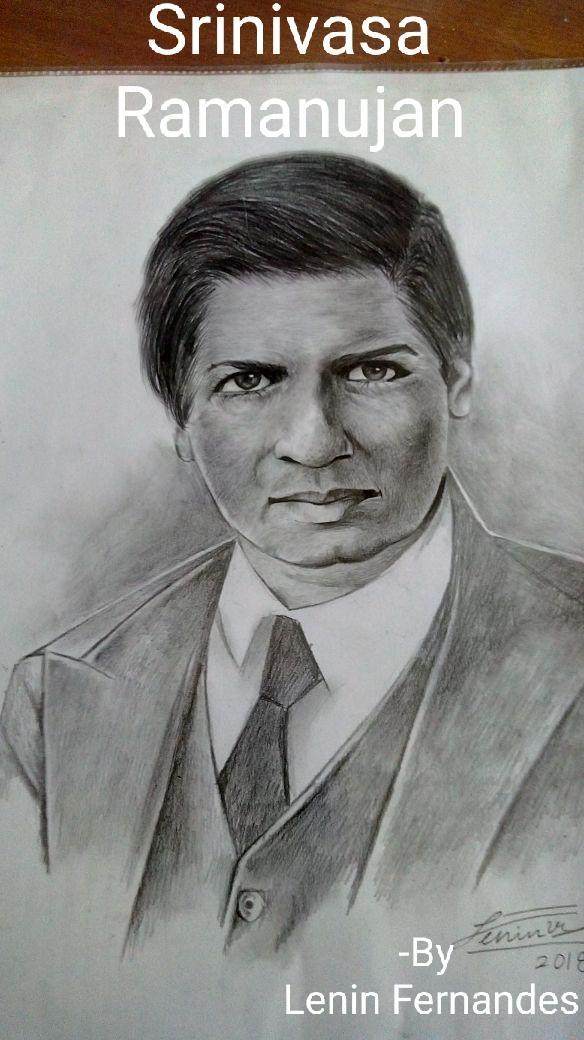 D:\Magazine 17-18\Dept 17-18\Mathematician  Ramanujan Sketch Mast Lenin Fernandes student of Fyjc Science Div A.jpg
