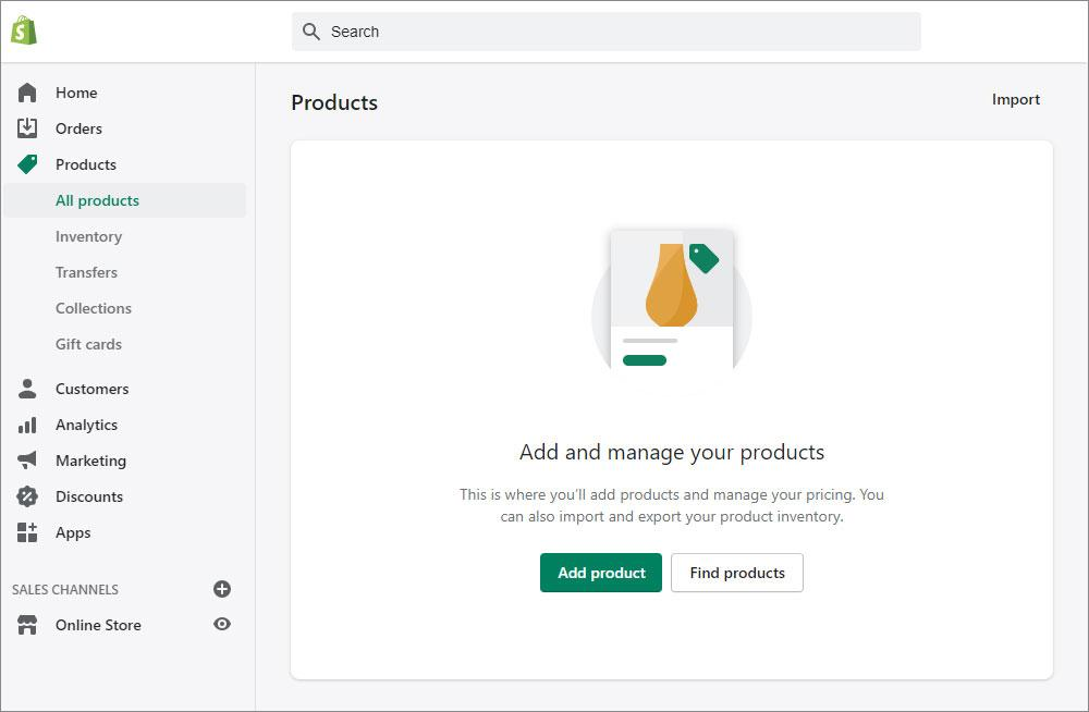 Shopify dashboard for adding new products