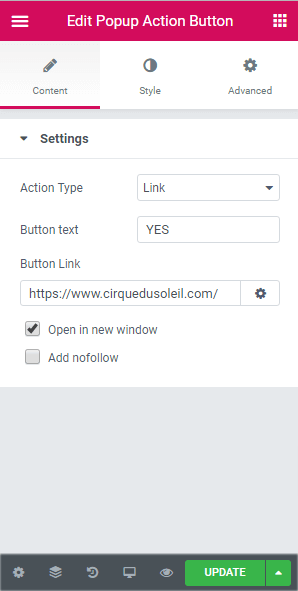 button text and button link