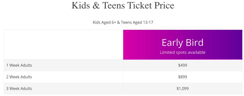 Kids & Teens Ticket Price