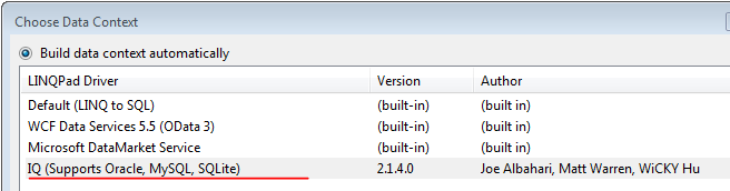 Adding IQ Driver to LINQPad and connecting to ORACLE Database