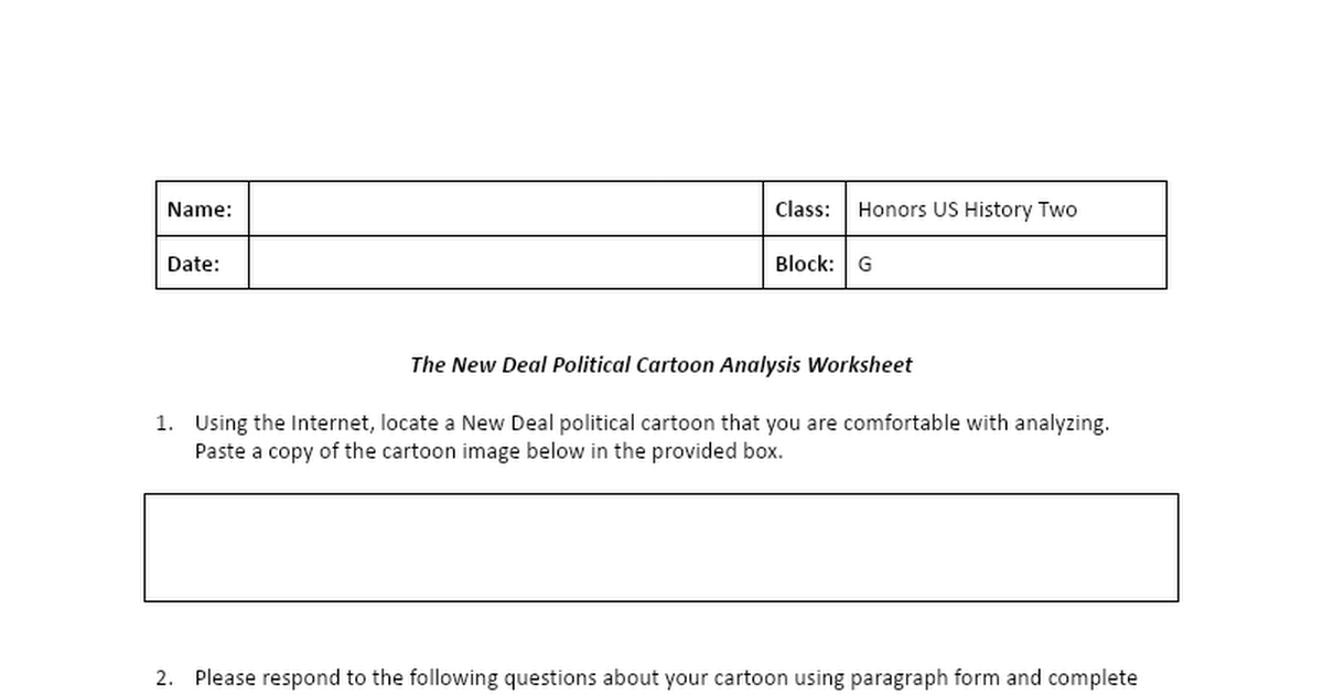New Deal Political Cartoon Analysis Worksheet Google Docs