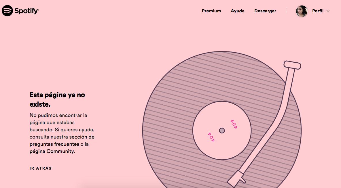 Ejemplo error 404: spotify