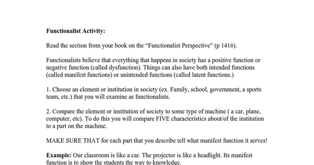 Functionalism Activityc Google Docs