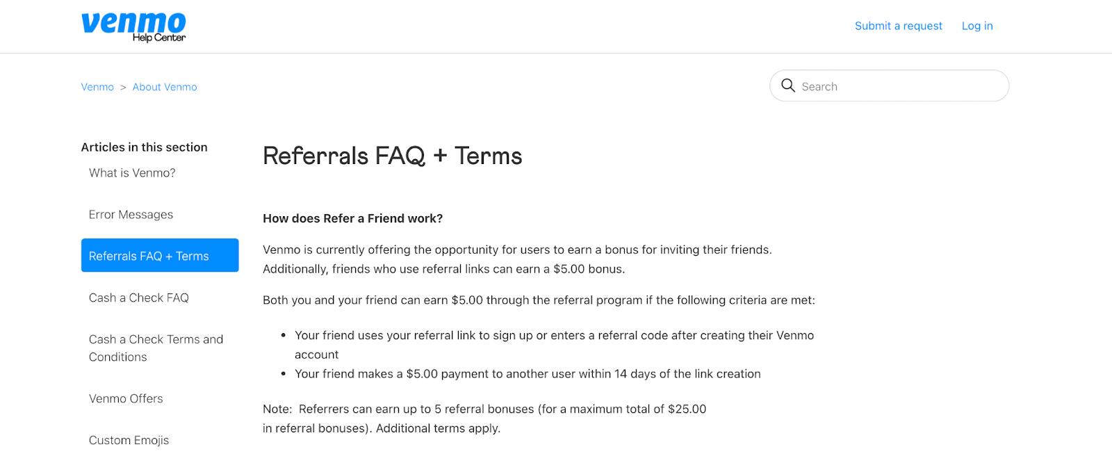 Venmo Referral Program FAQ page