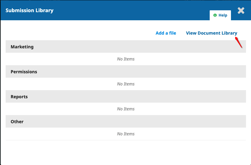 The location of the View Document Library button in the Submission Library panel.