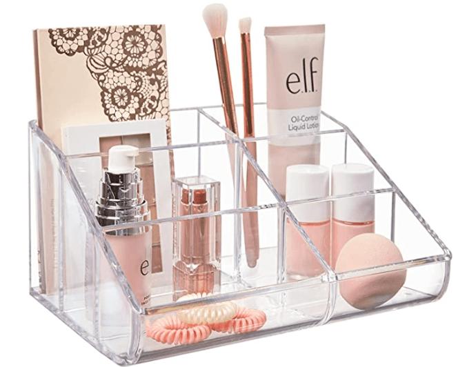 clear plastic 6 compartment vanity makeup organizer