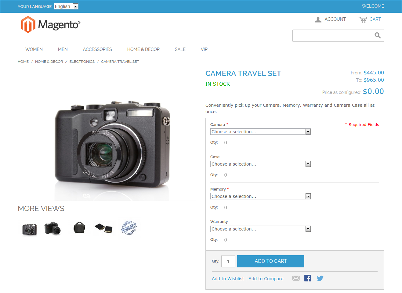 Magento product page view