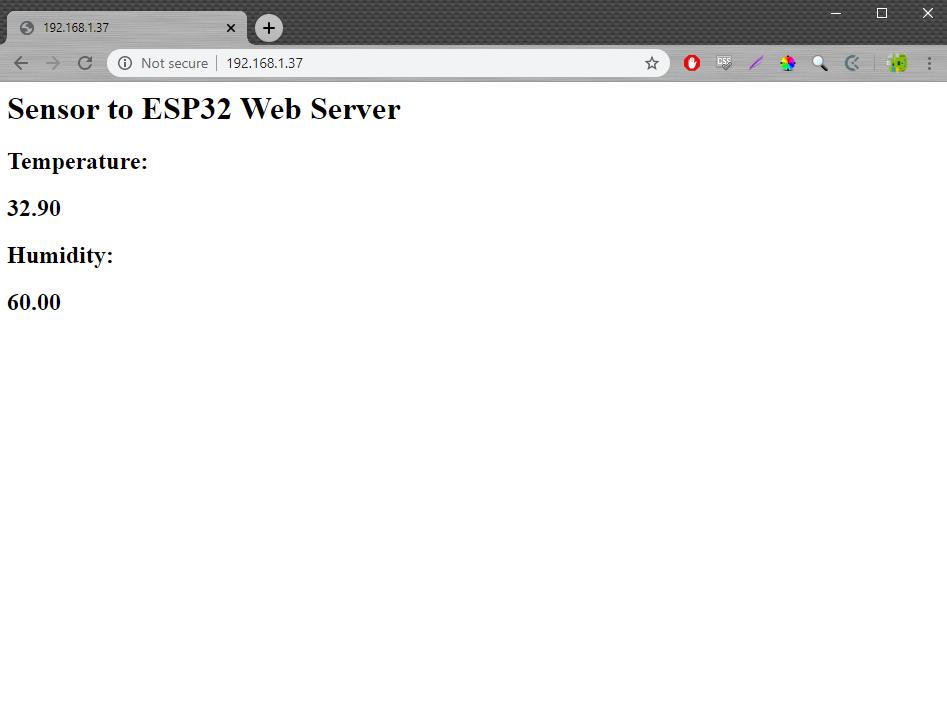 ESP32 web server running 2
