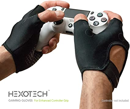 Foamy Lizard Gaming Gloves with Grip Hexotech Pro Gamer Anti-Sweat Fingerless Tactical Controller Gloves for Grip Perfect for Xbox One Playstation 4 Switch (2 Glove Set)