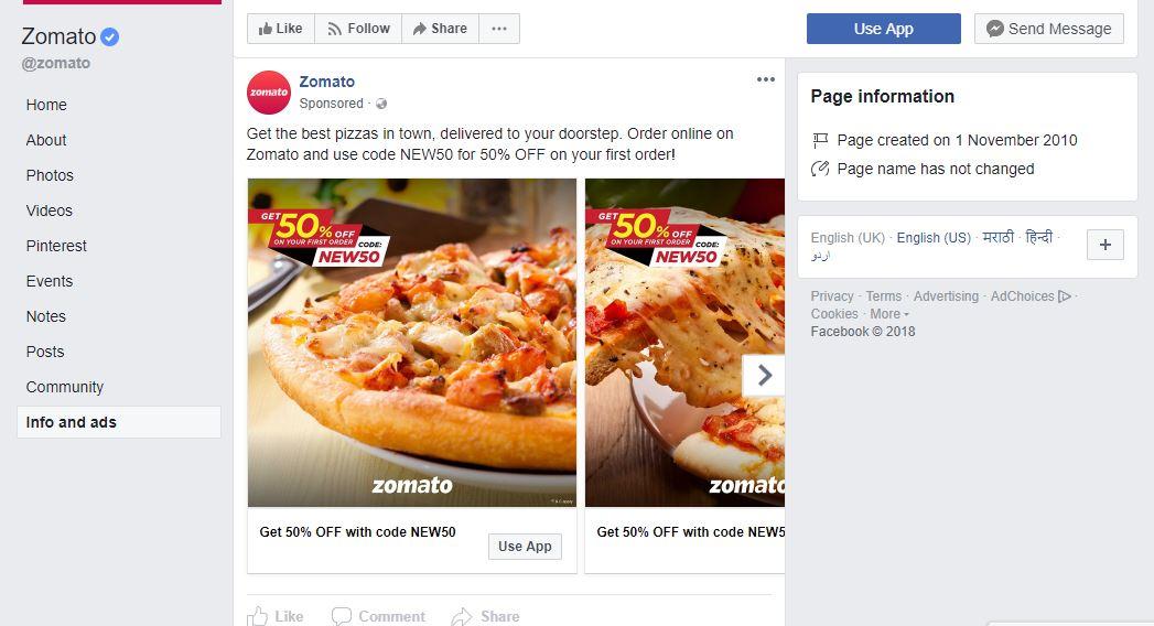 Zomato page info