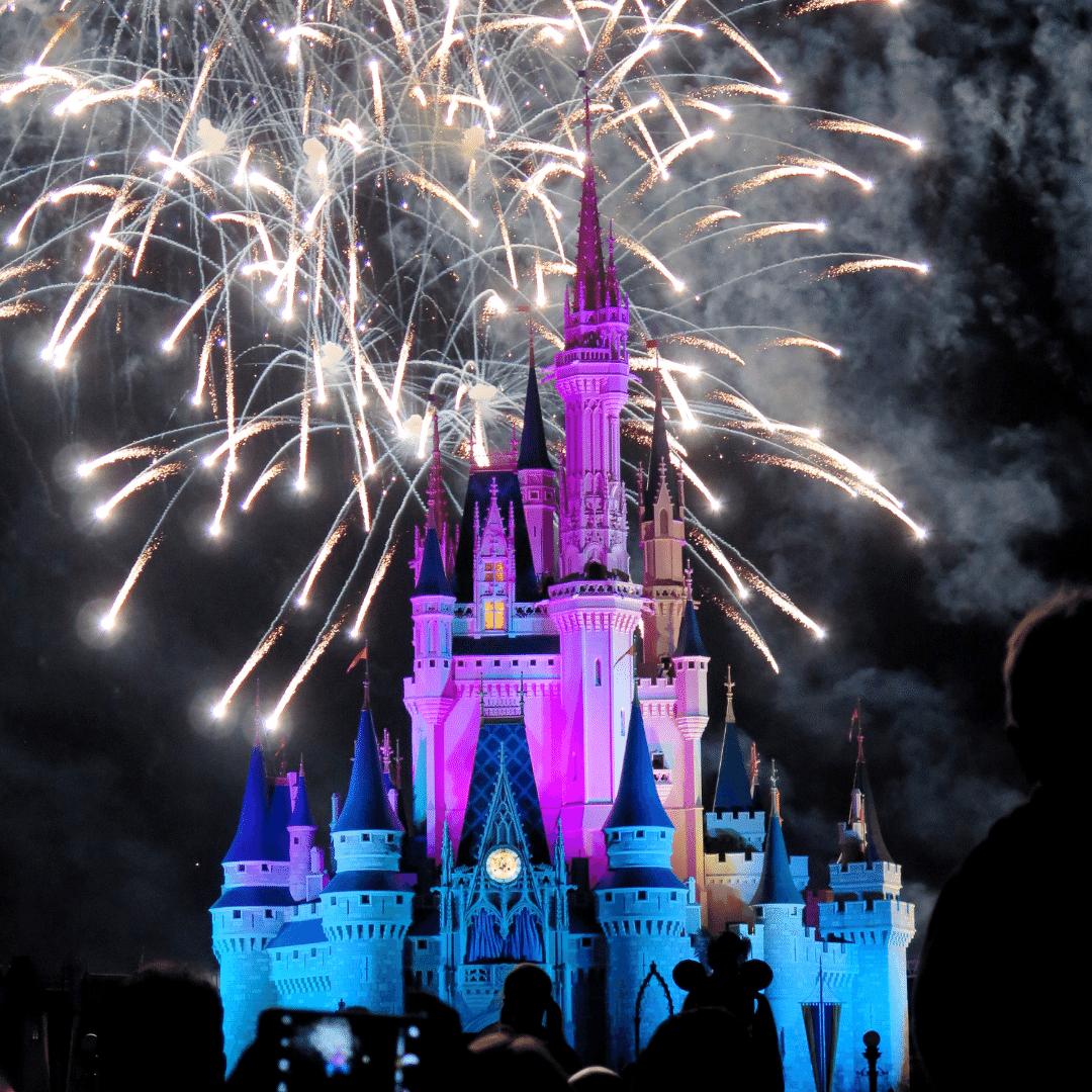 Firework show over Disneyland castle